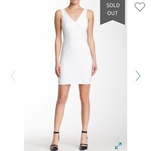 NWT Helmut Lang size 00 v neck fitted dress white